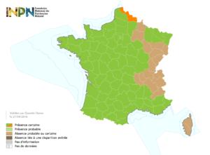 Distribution du frelon asiatique en France au 27/09/2016