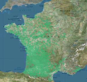 Carte des données de l'inventaire du frelon asiatique sur l'INPN.